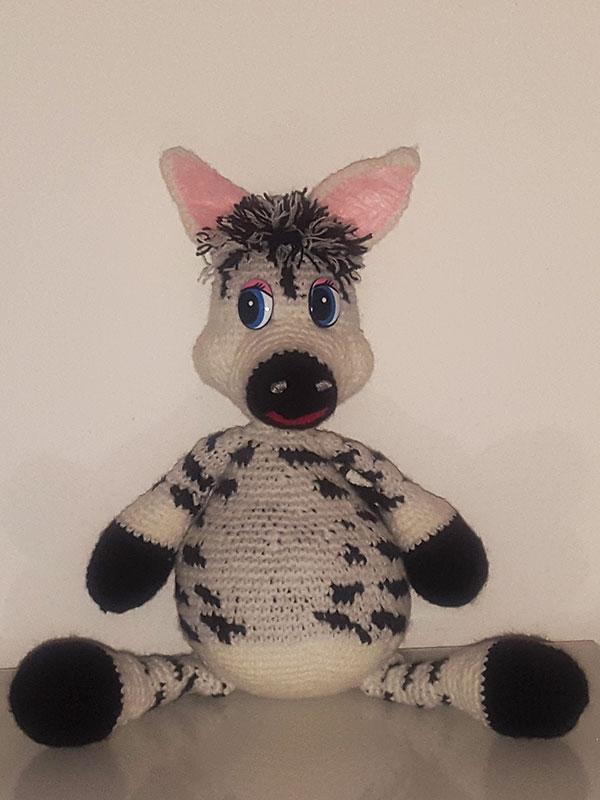 Zebra fatta a maglia fronte